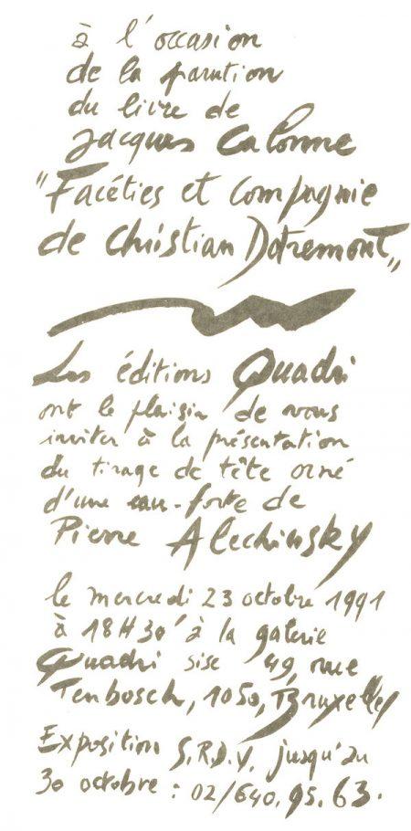 Galerie Quadri Edition - Jacques Calonne - Christian Dotremont