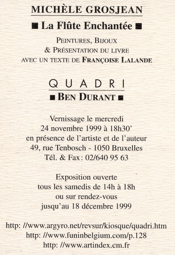 Galerie Quadri Edition - Michèle Grosjean - La flûte enchantée