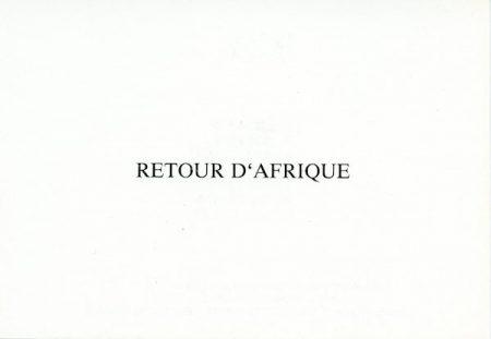 Galerie Quadri Edition - Retour d'Afrique