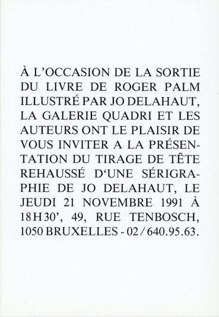 Galerie Quadri Edition - Roger Palm - Jo Delahaut