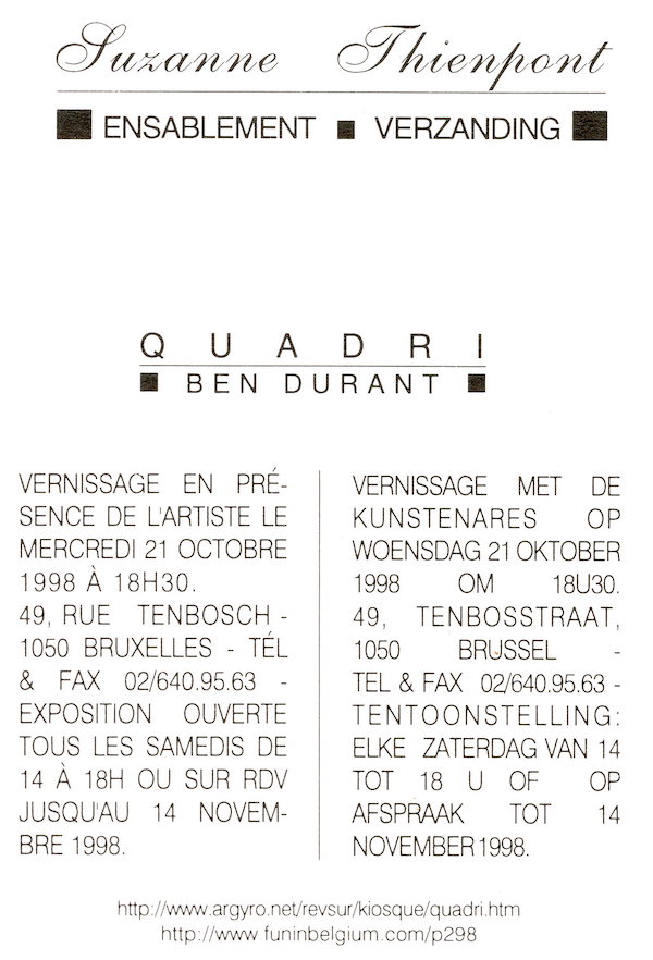 Galerie Quadri Edition - Suzanne Thienpont - Ensablement