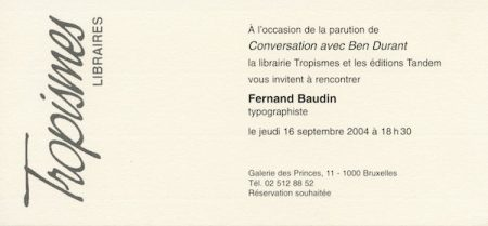 Galerie Quadri Edition - Ben Durant - Fernand Baudin